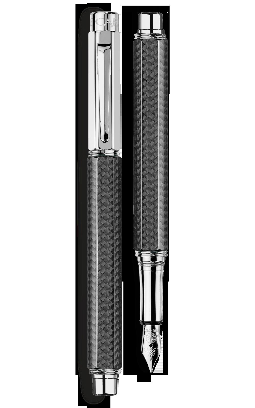 Bút máy VARIUS CARBON silver-plated, rhodium-coated
