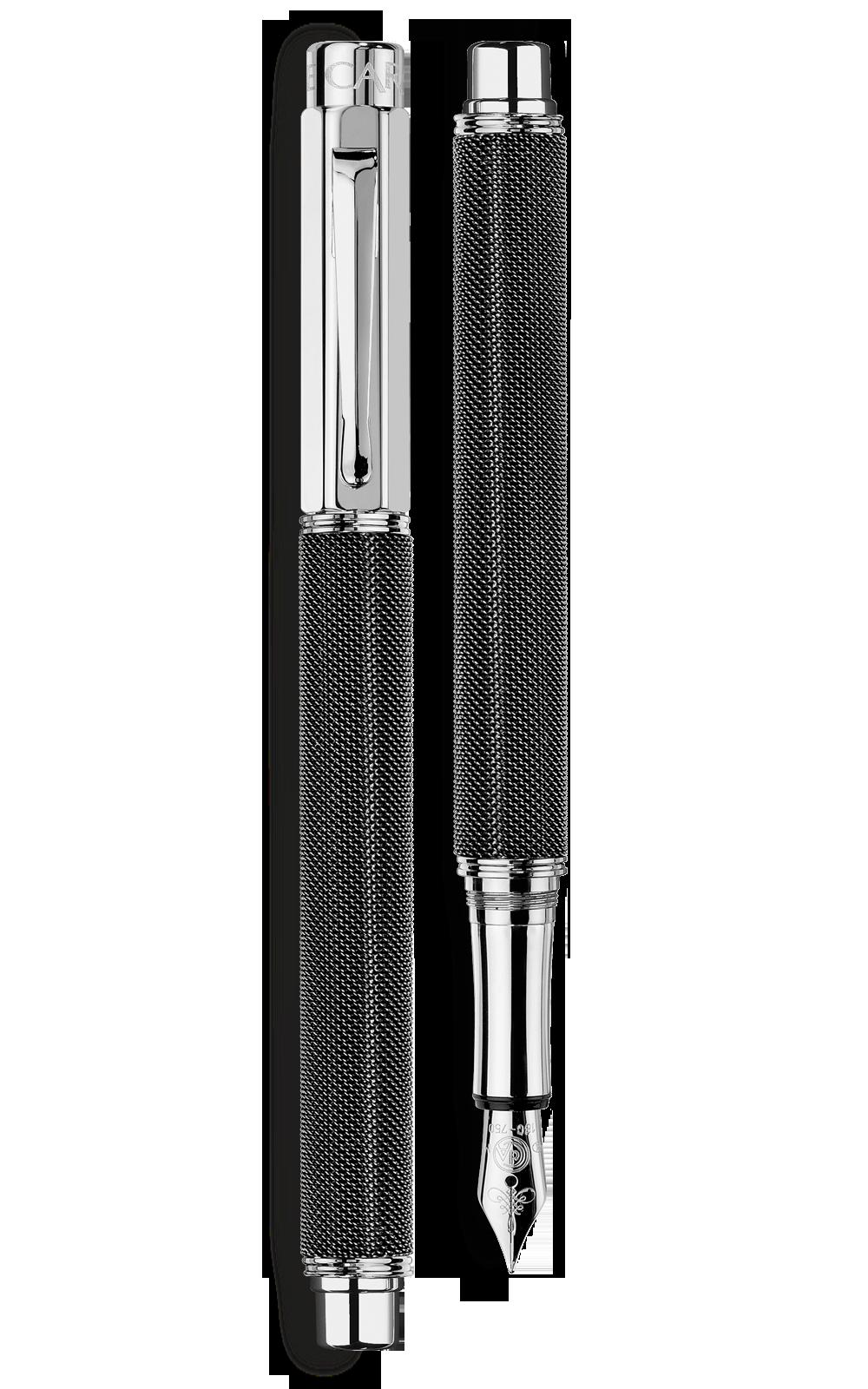 Bút máy VARIUS IVANHOE BLACK silver-plated, rhodium-coated