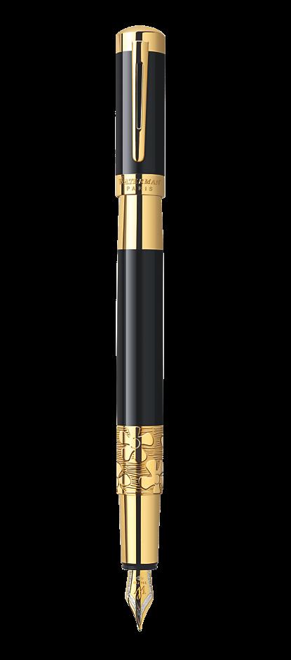 Bút máy Waterman Elegance black cài vàng